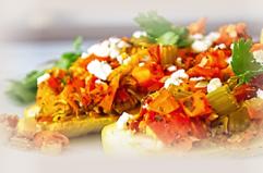 Zucchini boats with tomato sauce