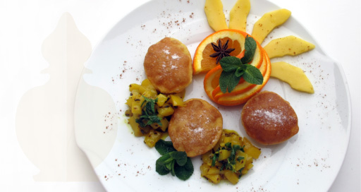 Fried banana puris with mango chutney
